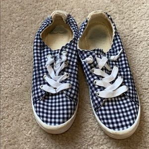 Roxy blue and white checkered sneaker